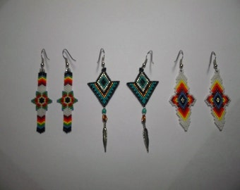 10 Brick Stitch Delica Seed Beading PDF E-File Dangle Earring Patterns-300