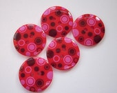 5 Red Circles Pattern Buttons