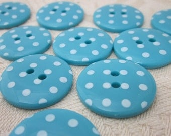 10 Bright Teal Polkadot Buttons