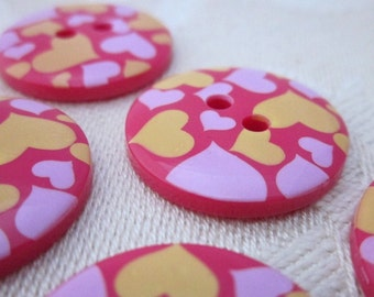 5 Red Heart Pattern Buttons