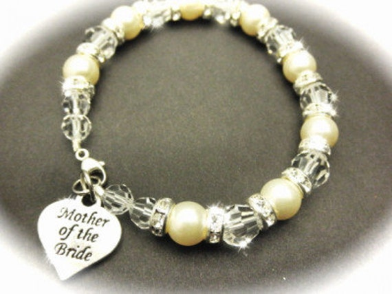 Mother of the Bride Crystal and Pearl Bracelet, Mother of the Groom Wedding Gift Memorable Jewelry