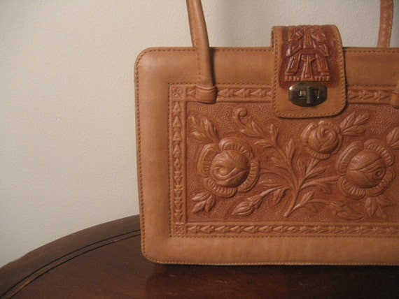 Vintage Tooled Leather Large Structured Tote Style Purse