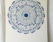 Deep Blue Circle Pattern Print