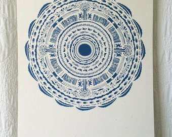 Deep Blue Circle Pattern Print