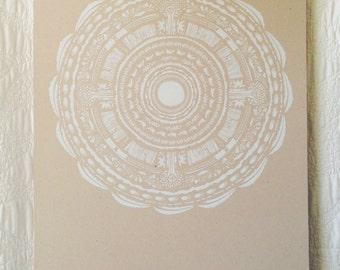 White Circle Pattern Screen Print
