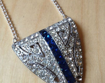 ON SALE!  Vintage Repurposed 1930s Cote D' Armes Triangle Rhinestone and Cobalt Necklace