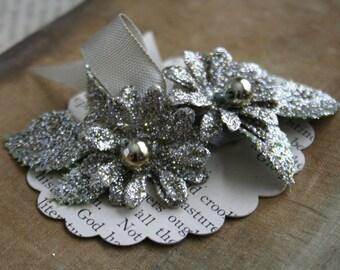 beautiful platinum glittered holiday flower decorations