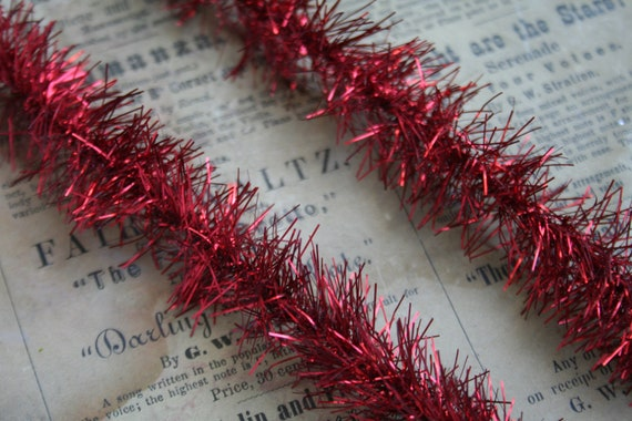 Holiday red tinsel garland inches soft feather