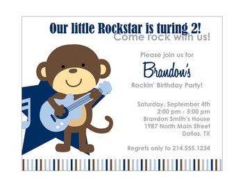 40 Rockstar Monkey Baby Shower Invitation or Birthday Invitation Cards (Printable file available)
