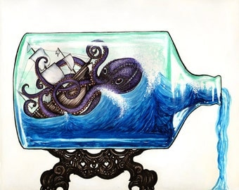 Shipwreck in a Bottle 8x10 archival giclee print