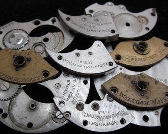 Destash Steampunk Watch Clock Parts Movements Plates Art Grab Bag PR 2