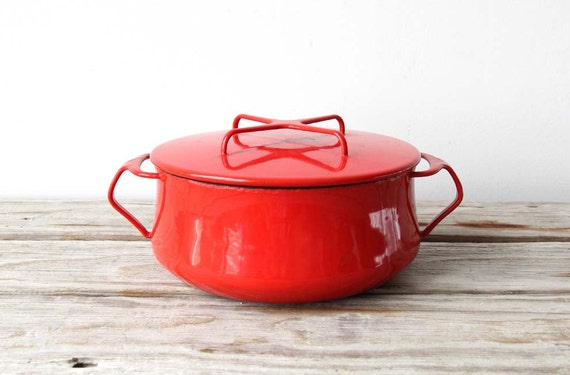 Dansk Kobenstyle Red Enamel Dutch Oven Pot.  Quistgaard Designed.