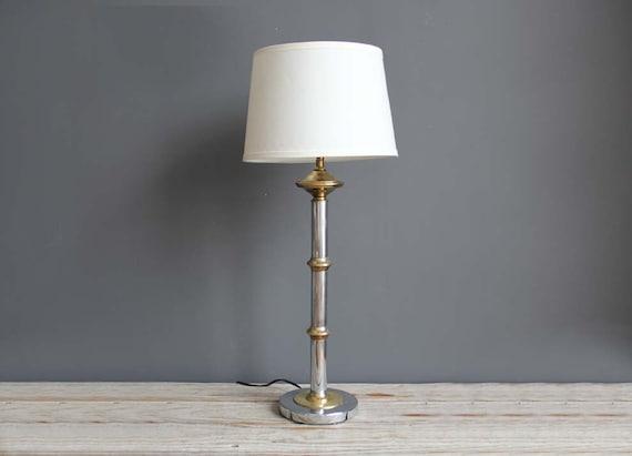 Tall Regency Brass & Chrome Lamp