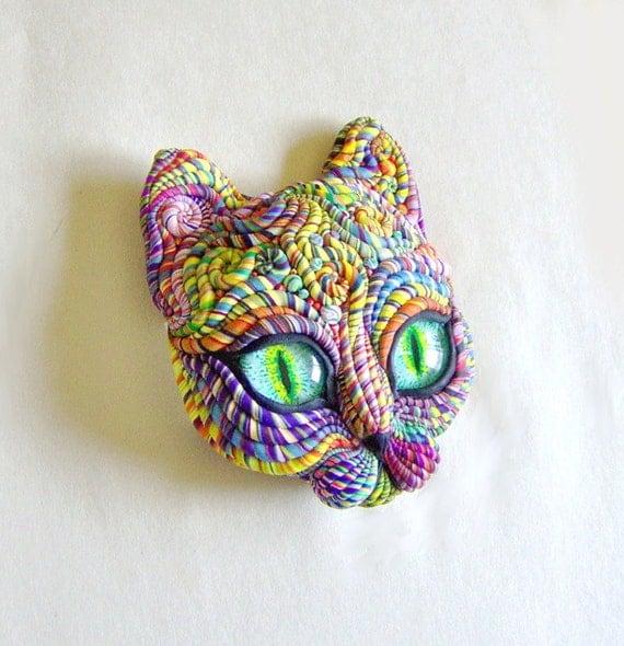 Cosmic Cat Face Sculpture Visionary Art