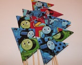 Reserved fro Jenny - Cupcake Flags - 30 Fabric Thomas The Tank Engine Train - Cake Toppers Picks