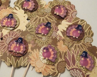 It's Turkey Time - Glittery Fall Thanksgiving Cupcake Toppers - 12 Paper Flower Picks