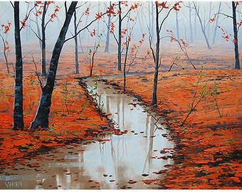AUTUMN OIL PAINTING  impressionist red trees landscape