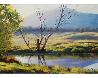RIVER PAINTING LANDSCAPE Oil painting by listed artist  Graham Gercken