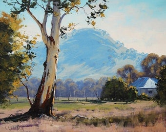 FARM PAINTINGS Australian gum tree landscape impressionist artwork by Graham Gercken