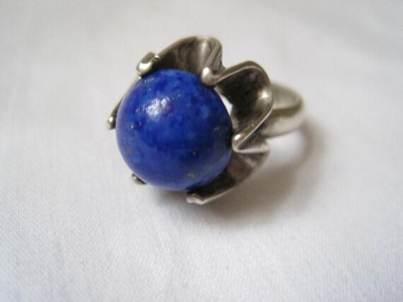 Vintage Lapis Lazuli Sterling Ring - Modernist