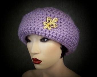 Crochet Cloche,Purple Hat,Accessory,Women,Winter Hat,Bucket Hat,Lavender Hat,