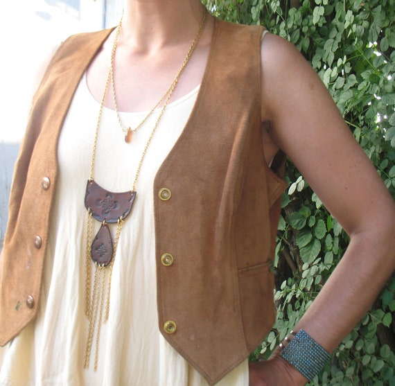 Don't You Know that You are a Shooting Star Tiered Tooled Leather Chain Fringe Necklace by flaming hag folkwear