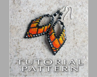 Beading Tutorial : Monarch Butterfly Leaf Earrings Tutorial/Pattern - Instant Download