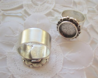 2 Adjustable Ring Blanks Ornate Circle Wide Band  (No. ND226)