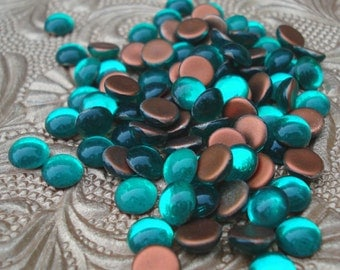 Vintage 9mm Aqua Blue Gold Foiled Flat Back Round Glass Cabs (6 pieces)