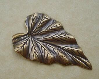 Antiqued Gold Brass 38x23mm Large Hollowed Back Leaf Pendants (3 pieces)