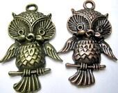 Pendants, Big Metal Owls Bead, Brass or Copper Owl, Metal Bead Large Focal Bead, 43.5x28mm. Set of 4