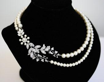 Bridal Necklace Pearl Necklace Vine Leaf Necklace, swarovski Rhinestone statement Necklace Wedding Jewelry NEVE