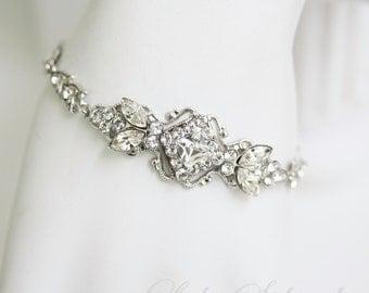 Crystal Bracelet Art Deco Wedding Bracelet Delicate Rhinestone Bridal Bracelet Filigree Cuff Simple Bridal Bracelet Silver KATRINA CRYSTAL