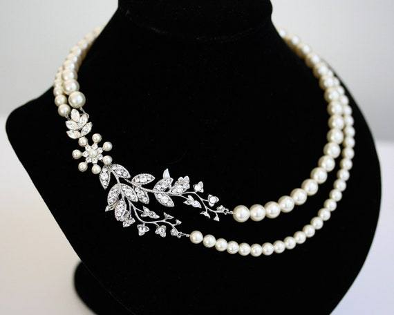 Bridal Necklace Pearl Necklace Vine Leaf Necklace, swarovski Rhinestone statement Necklace Wedding Jewelry NEVE