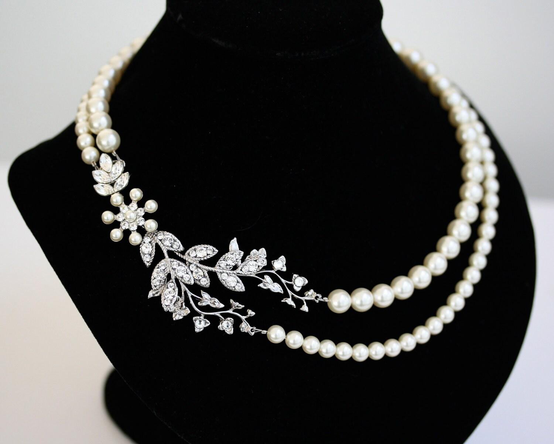bridal necklace pearl necklace vine leaf necklace swarovski