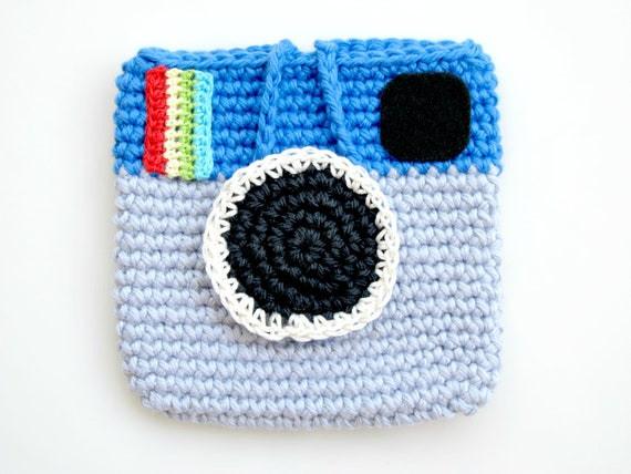 Crocheted Facebook Instagram Pouch. Mini. Purse.