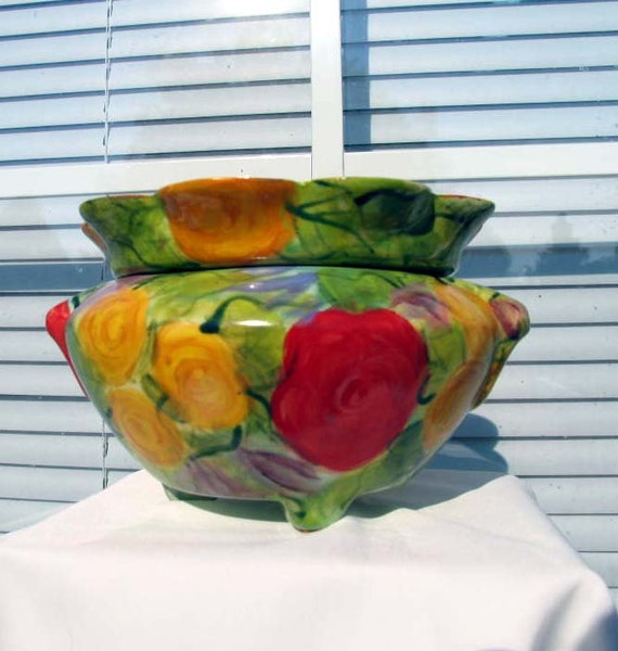 Two Piece Self Watering Ceramic African Violet Flower Pot Handpainted Face and Impressionistic Flowers