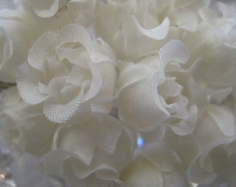 Fabric Millinery Flowers 24 Ivory Handmade Cupped Roses