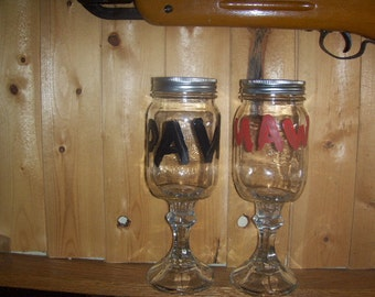 Redneck Wine Glasses Set Red Neck Drinking Glasses Maw and Paw Glasses