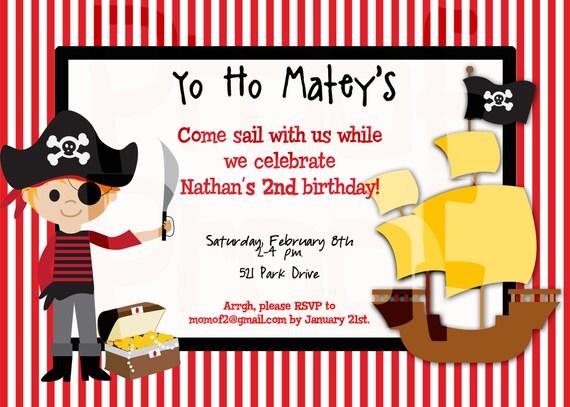 Pirate Party Birthday Invitation Pirate Birthday Party – Pirate Birthday Invite