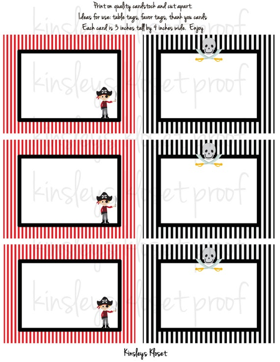 Printable Party Favor Tags/Labels/Food Table Labels - Pirate Party ...