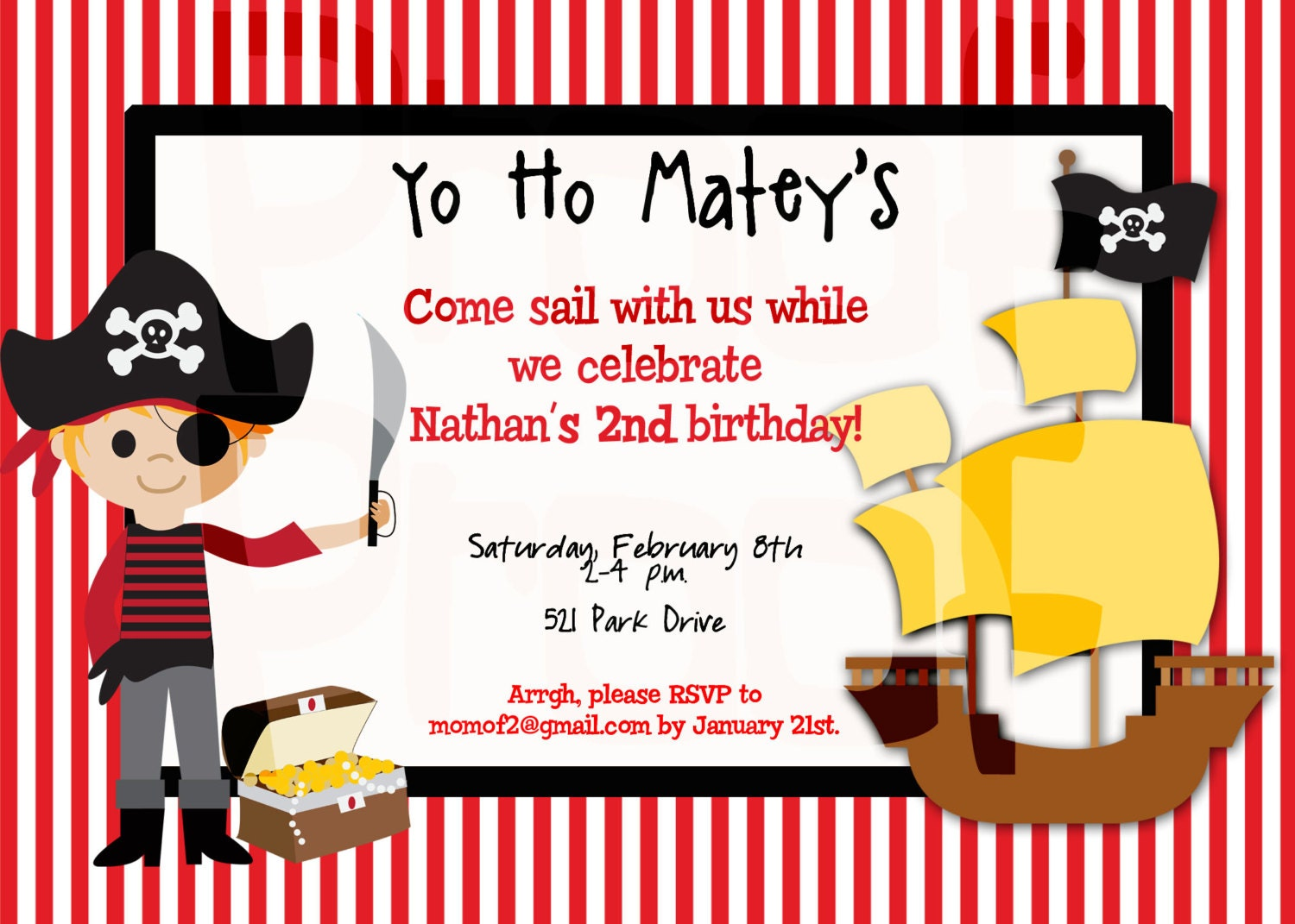 Pirate Party Birthday Invitation Pirate Birthday Party