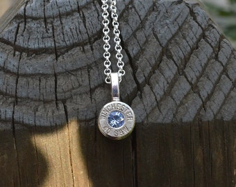 Bullet Necklace..... Silver Winchester .40 S&W pendant necklace Winchester necklace bullet jewelry silver necklace with Swarovski crystals