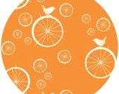 Jay-Cyn Designs for Birch Fabrics, Mod Basics, Organic, Birdie Spokes Orange, 1 YARD