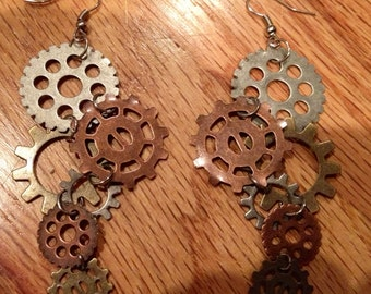 SALE steampunk gear earrings