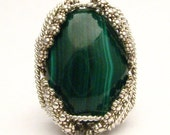 Handmade Sterling Silver Berry Wire Wrap Malachite Ring