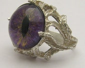 Handmade Sterling Silver Purple Gothic Dragon Eye Claw Ring