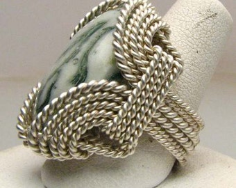 Handmade Sterling Silver Wire Wrap Tree Agate Ring