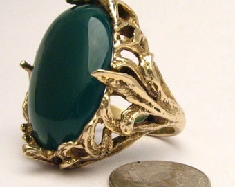 Handmade 14kt Gold Green Onyx Massive Claw Ring