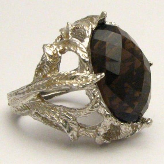 Handmade Sterling Silver Checkerboard Cut Smoky Quartz Gemstone Ring